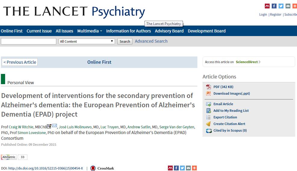 Snapshot EPAD paper - The Lancet Psychiatry